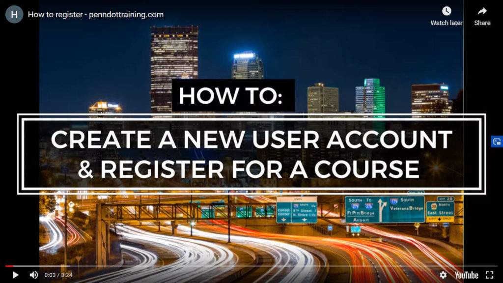 Image thumbnail of tutorial video on how to create a new user account or register for a course